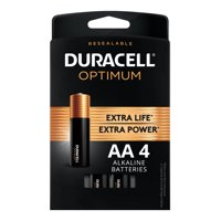 Duracell Optimum 1.5V Alkaline AA Batteries, Convenient, Resealable Package, 4 Pack
