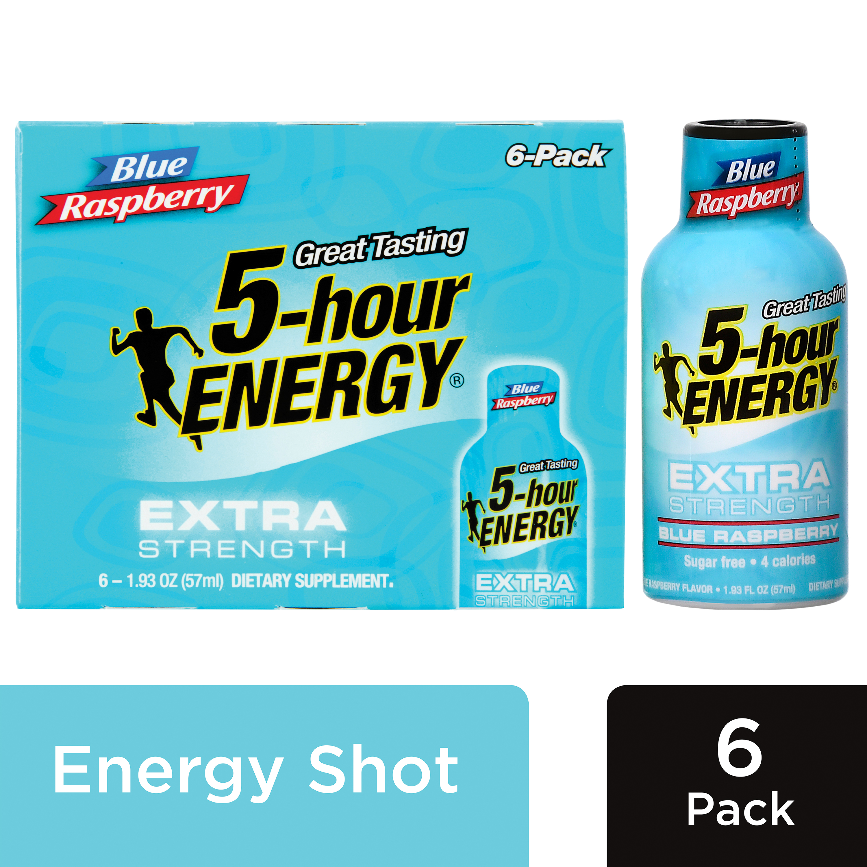 5-hour ENERGY® Extra Strength Blue Raspberry Flavor, Low Calorie Energy Shot, 6 Pack
