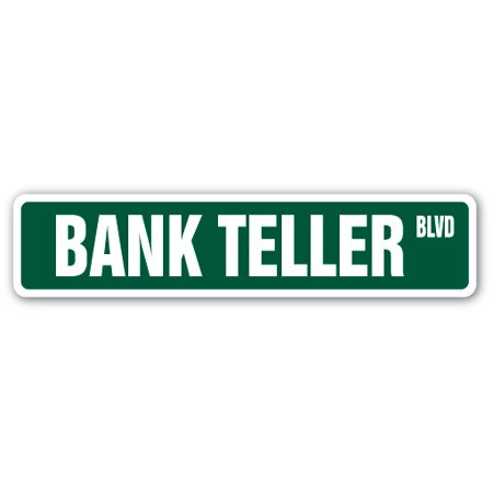Bank Teller Street Sign Cash Check Drive Thru Banking Money Retirement Gift Atm