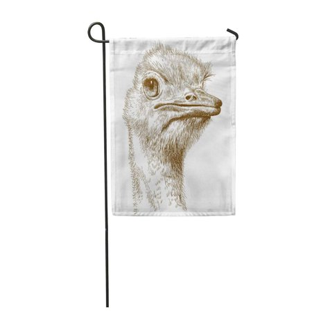 Antique Ostrich - KDAGR Emu Antique Engraving of Ostrich Head Farm Sketch Garden Flag Decorative Flag House Banner 28x40 inch