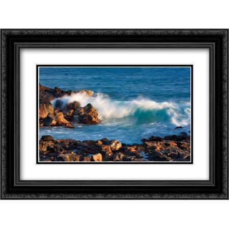 Black Rolling Frame (Rock and Rolling Waves 2x Matted 24x18 Black Ornate Framed Art Print by Frates,)