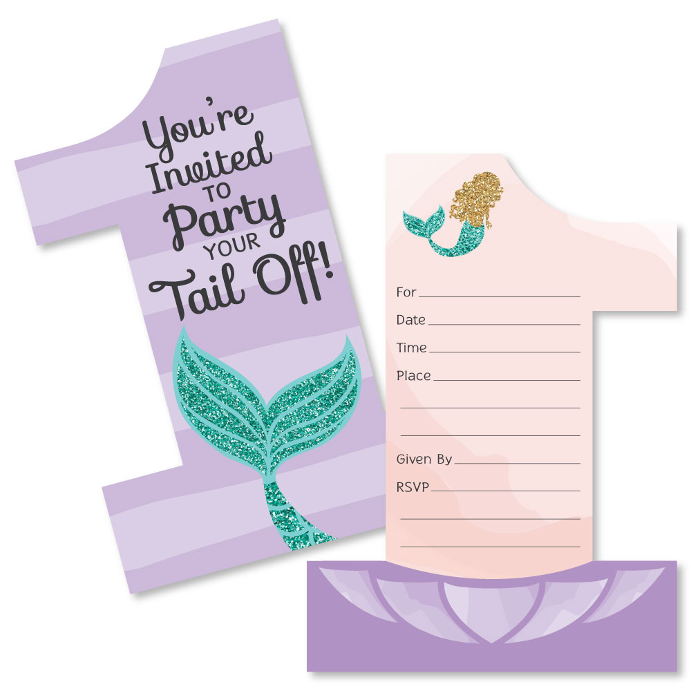 1st Birthday Let's Be Mermaids - Shaped Fill-In Invitations - First Birthday Party Invitation Cards with Envelopes