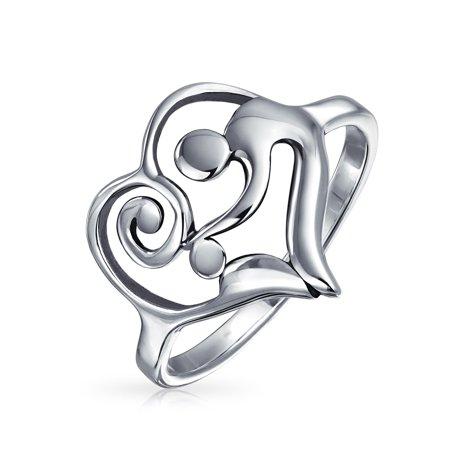 Swirling Heart Mother Loving Child Family Ring For Women Gift For Mom 925 Sterling Silver Band 1MM - image 4 of 4