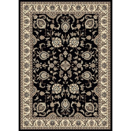 Vitaly Mana Area Rugs - 1426 Traditional Oriental Black Bordered Floral Vines Rug