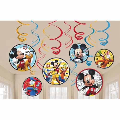 Mickey Mouse 'On the Go' Hanging Swirl Decorations (12pc) by Amscan