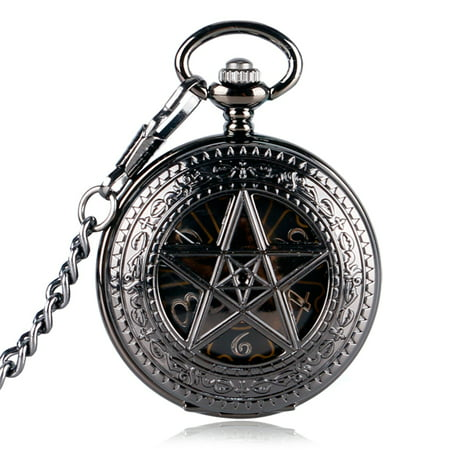 (Hand Wind Mechanical pocket watch for kids, Five Star Design Skeleton pocket watches gift, Vintage Luxury Classic Black Fob watch for girls)