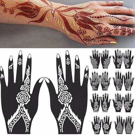 Girl12Queen 2 Pcs Henna Stencil Temporary Hand Tattoo Body Arts Sticker Template Tools