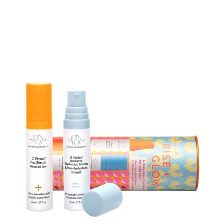 Drunk Elephant Rise + Glow Duo - Morning Skin Care Set. C-Firma Day Serum and B-Hydra Intensive Hydration Serum with Vitamin B5 (8 ml each) Travel Version