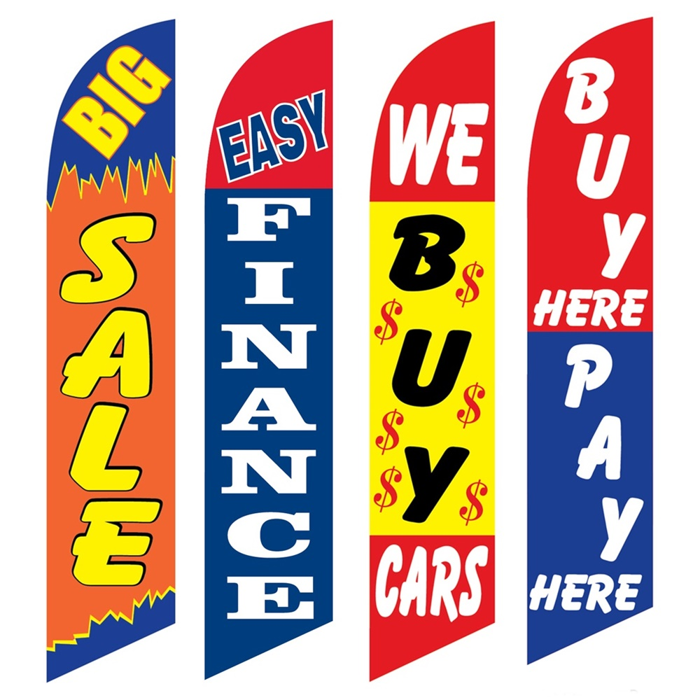4 Advertising Swooper Flags Big Sale Easy Finance We Buy Cars Buy Pay Here