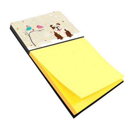 Christmas Presents between Friends English Bulldog Brindle White Sticky Note Holder BB2593SN