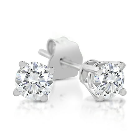 - IGI Certified 1/4ctw Diamond Stud Earring in 14k White Gold (14k Gold, J-K, SI1-SI2, 1/4ctw)