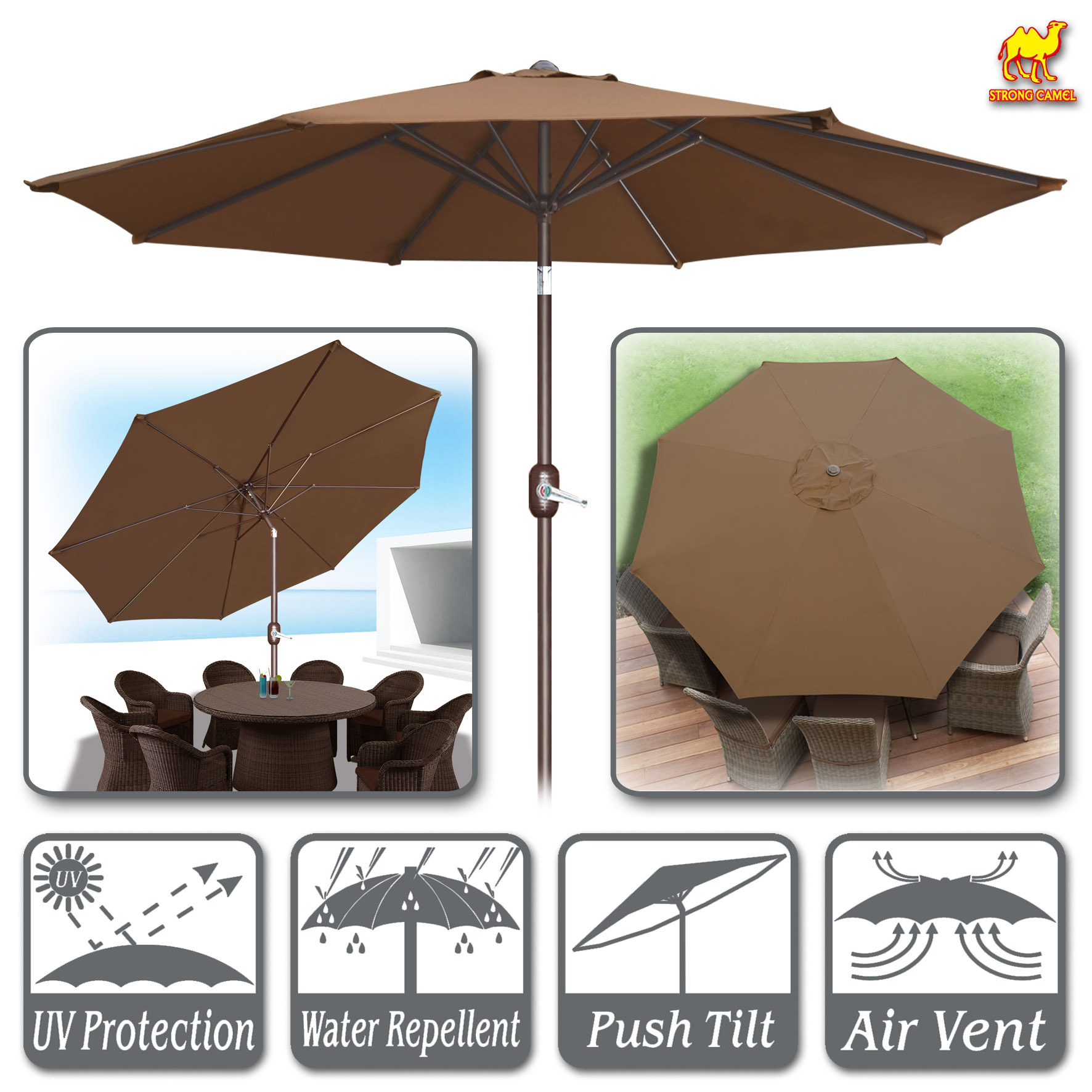 Strong Camel 10' Round Patio Umbrella Outdoor Market Umbrella with Tilt & Crank Sunshade... by Sunny Outdoor Inc
