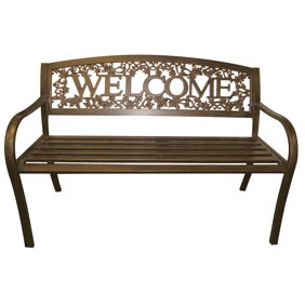 Magnificent Leigh Country Welcome Outdoor Garden Bench Black Gold Evergreenethics Interior Chair Design Evergreenethicsorg