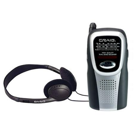 Craig AM/FM Pocket Radio With Speaker and Headphones