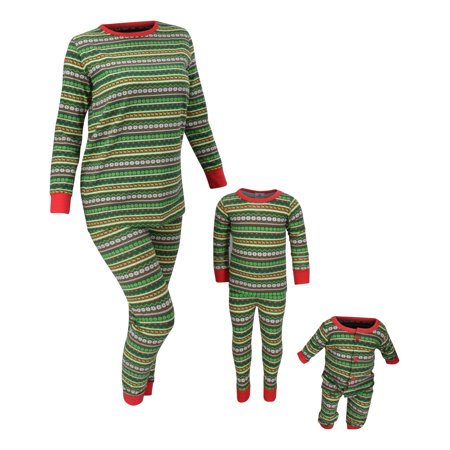 Unisex Christmas Family Pajama Set Daddy Mommy and Me (12 Mo, Green)
