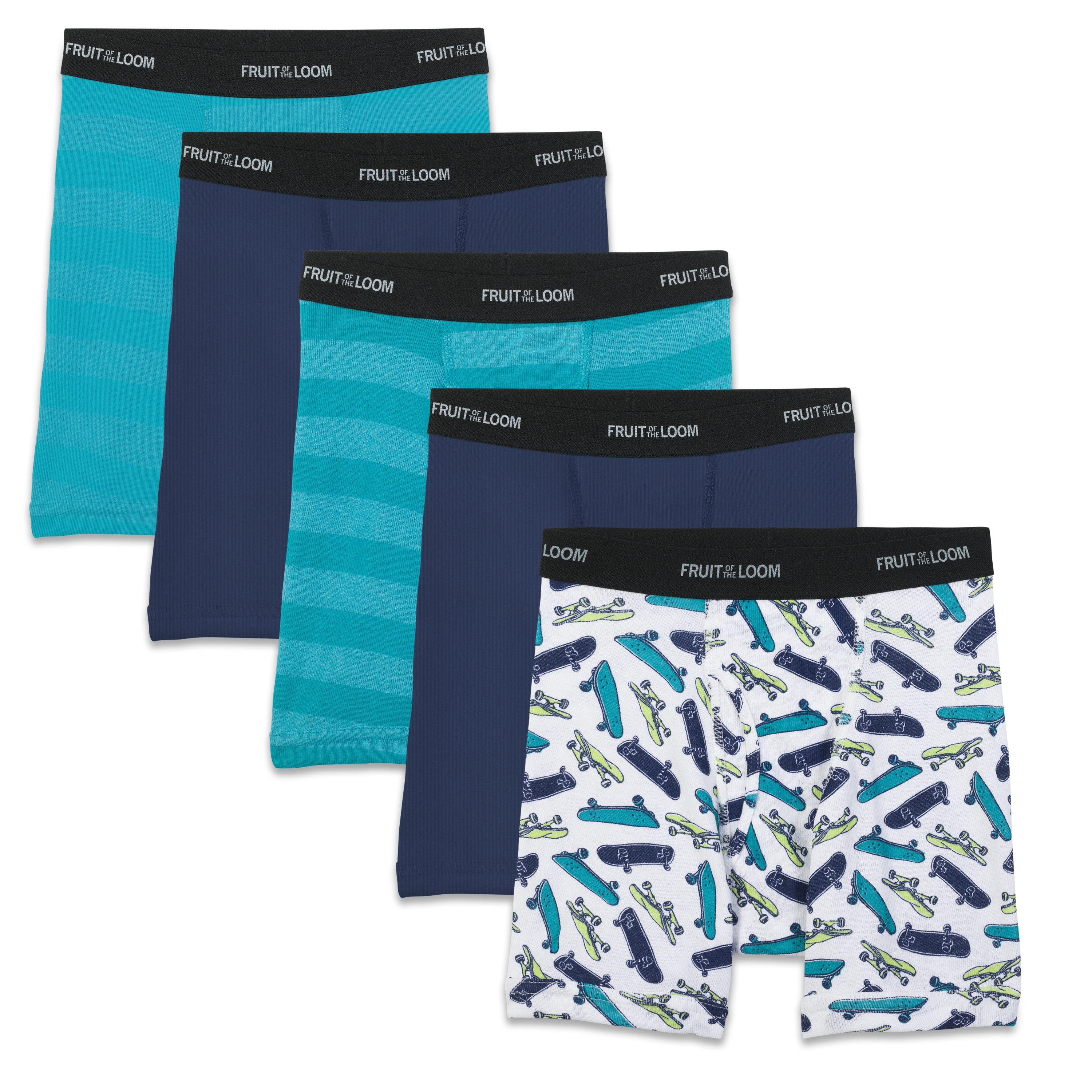 Fruit of the Loom Boys' Sport Style Boxer Briefs, 5 Pack