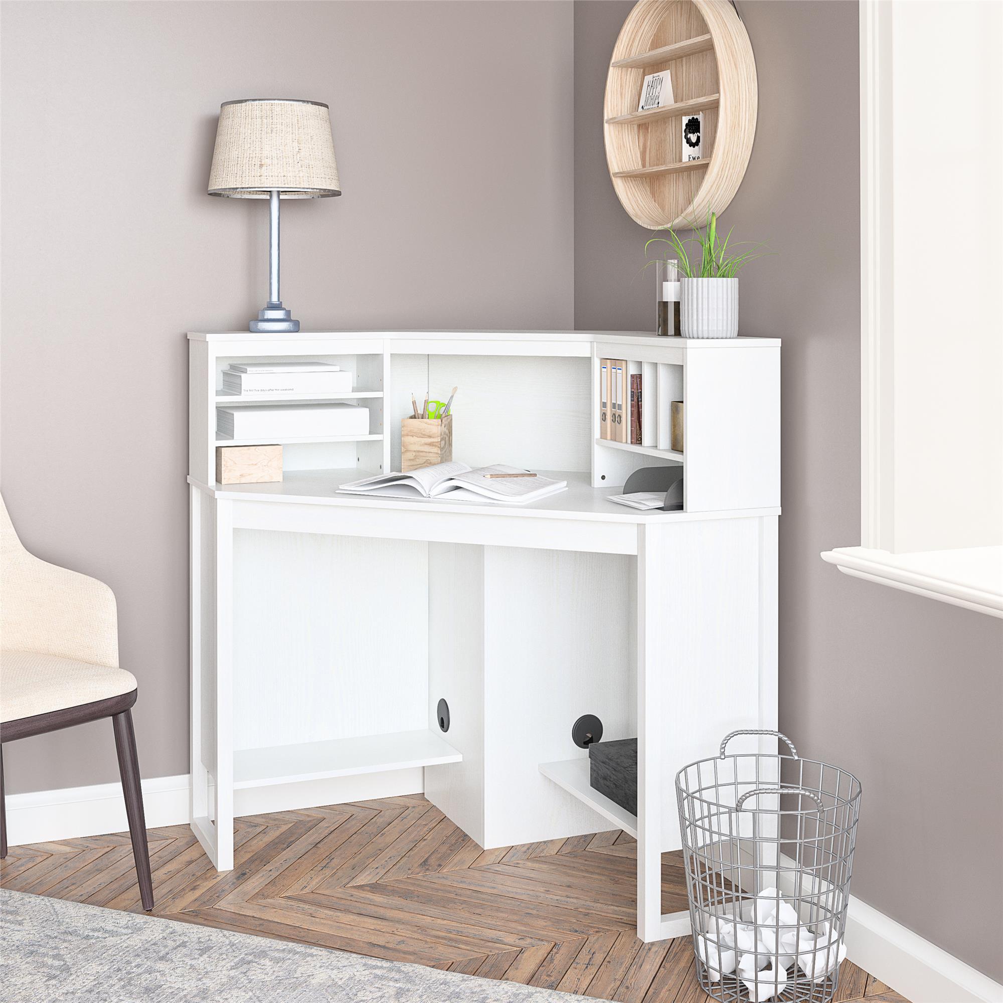 Mainstays Corner Desk With Hutch White Walmart Com Walmart Com