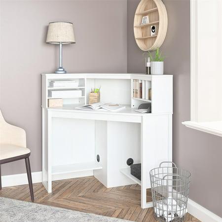 Mainstays Corner Desk with Hutch, White