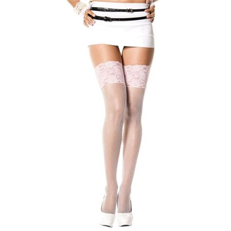music legs 4926-white-pink two tone wide lace top fishnet thigh high stockings, white & pink