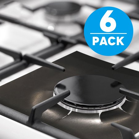 "TSV Gas Range Protectors,Non-Stick Stove Burner Covers - Stovetop Burner Protectors Liners Stove Top Cover Newest (6 Pack 10.6""x10.6"")Easy to Clean,Reusable Dishwasher Safe For Cooking/Kitchen,-Black"