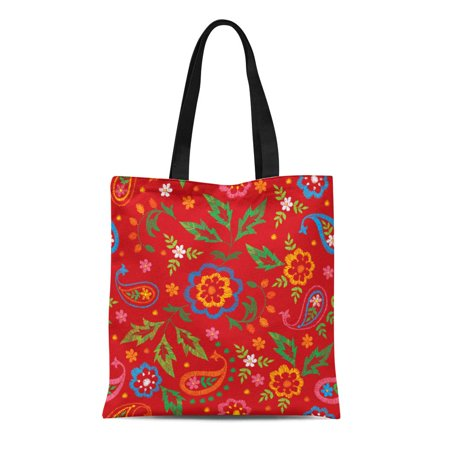 KDAGR Canvas Tote Bag Colorful Abstract Floral Pattern Bohemian Accessory Authentic Boho Clip Reusable Shoulder Grocery Shopping Bags Handbag Authentic Purse Handbags