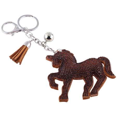 Yosoo Unicorn Horse Key Chain, Lucky Unicorn Horse Crystal Keychain Keyring for Handbag Charms Pendant Key Ring with Tassel