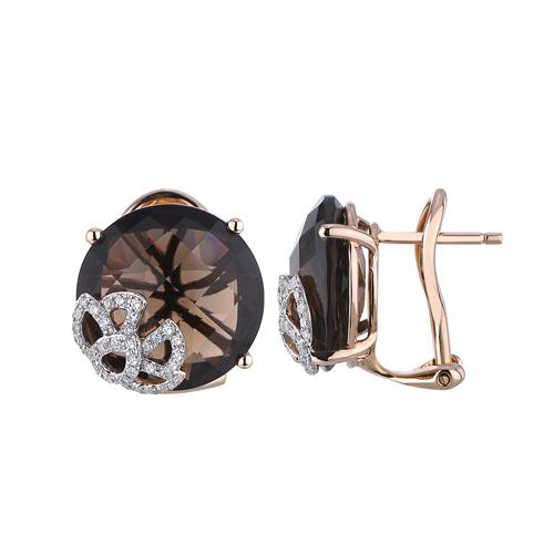14k Rose Gold 12.3ct Details Diamond & Brown Smoky Topaz Stud Earrings