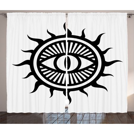 Occult Decor Curtains 2 Panels Set, Third Eye Symbol in Sun Circle Pattern the Locus of Force Art Print Image, Window Drapes for Living Room Bedroom, 108W X 90L Inches, Black and White, by Ambesonne Two Thirds Circle