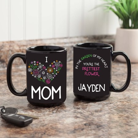 I Love Mom Personalized Black 15 oz. Mug - Personalized M&m