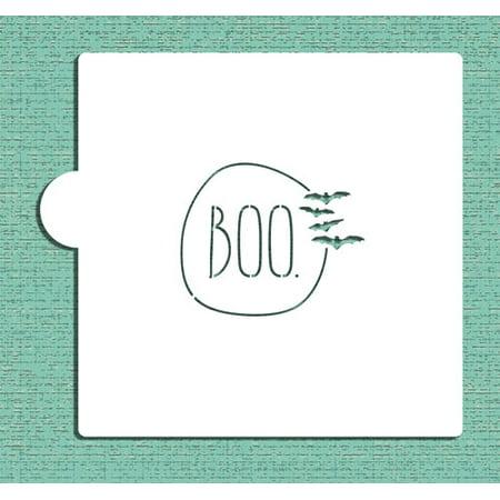 Designer Stencils BOO with Bats Cookie and Craft Stencil CM110 - Boo Halloween Stencil