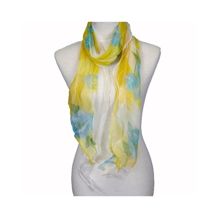 Zodaca Fashion Women Ladies Lightweight Double Layer 100% Silk Floral Ruffle Summer Silk Scarf for (Double Layer Scarf)