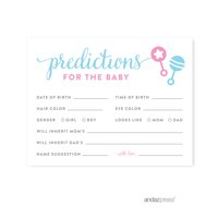 Predictions For Baby  Team Pink/Blue Gender Reveal Baby Shower Games , 20-Pack