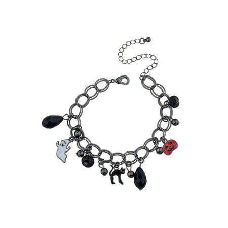 Lux Accessories Black Hand Made Halloween Ghost Pumpkin Cat Wire Chain Bracelet