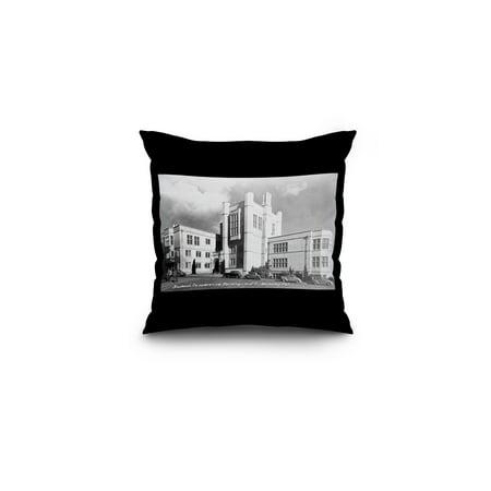 Berkeley, California - University of CA Student Co-Op Bldg Photograph (16x16 Spun Polyester Pillow, Black Border)