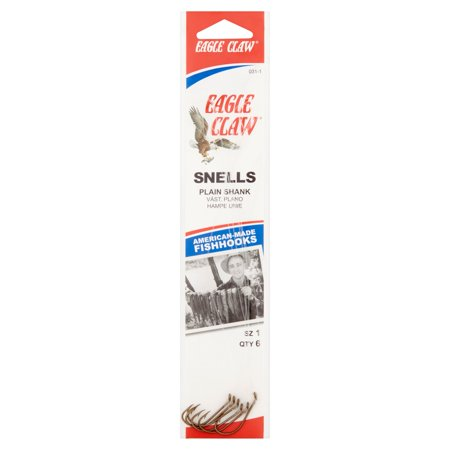 Eagle Claw Snells Plain Shank Fish Hooks, 6 count