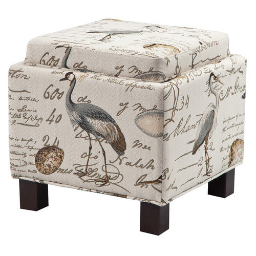 Madison Park Shelley ottoman Square Storage Ottoman with Pillows In Ivory