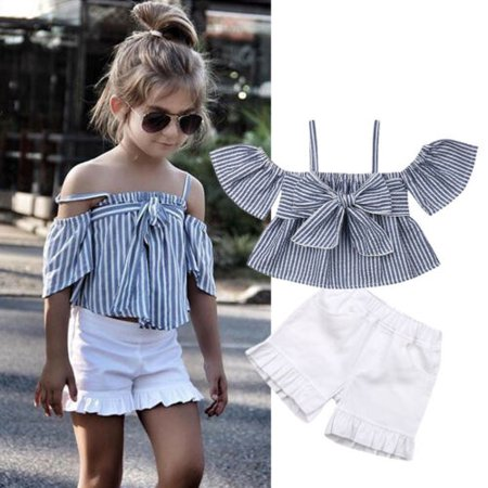 St Patty's Outfits (Toddler Baby Girls Kids Bowknot Tank Top+ Short Pants Summer Outfits)