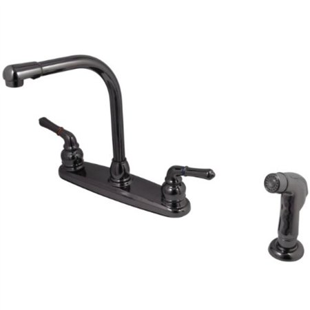 kingston brass nb750sp water onyx 8 inch centerset kitchen faucet with lever handle and matching side sprayer, black stainless