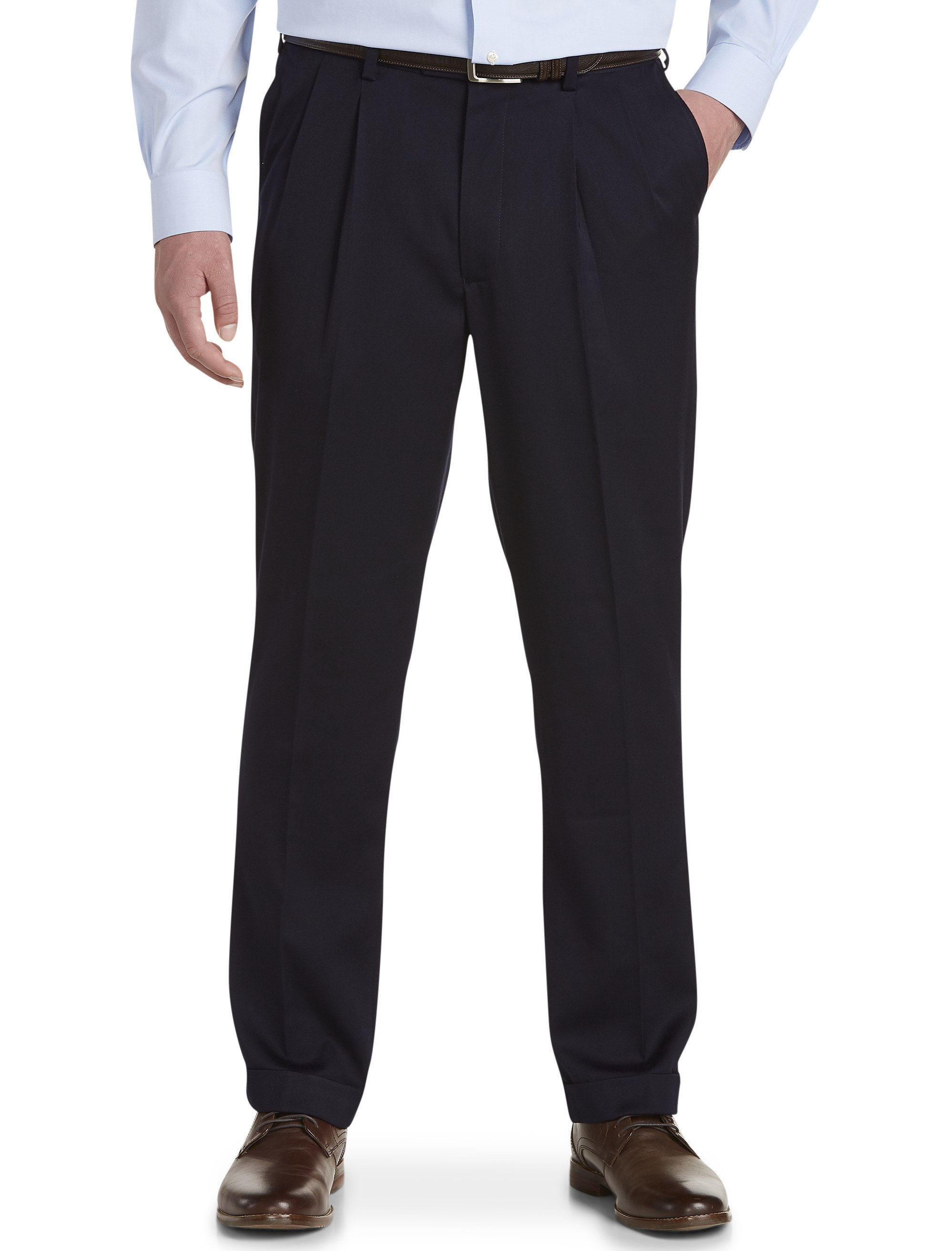 Men's Big & Tall Gold Series Perfect Fit Waist-Relaxer Pleated Pants