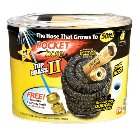 As Seen on Tv Pocket Hose Top Brass Bullet II Retractable Kink Free Garden Hose, 50ft