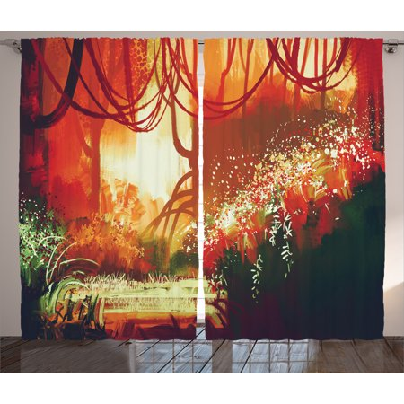2 X Special Effect - Fantasy Art House Decor Curtains 2 Panels Set, Modern Autumn Forest with Blur Special Effects in Vivid Tones , Window Drapes for Living Room Bedroom, 108W X 90L Inches, Orange Green, by Ambesonne