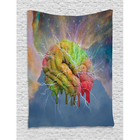 Psychedelic Tapestry  Brain Storm Fantasy Visual Modern Mental Ethereal Energy Artful Fiction  Wall Hanging For Bedroom Living Room Dorm Decor  60W X 80L Inches  Blue Pistachio  By Ambesonne