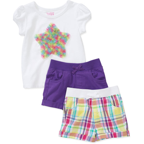 Garanimals Baby Girls' 3-Piece Ruched Tee and Shorts Set