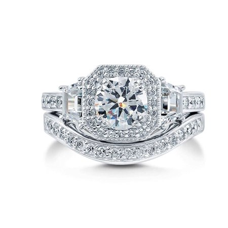 Julieanna Multicut Halo CZ Engagement Bridal Wedding Band Ring Set Ginger Lyne Collection
