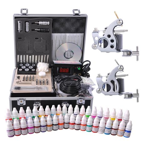 Complete Tattoo Kit 2 Machine Guns 10 Wrap 40 Color Inks LCD Power Supply Foot Switch Equipment Set with Carry Case (Tattoo Machine Gun)
