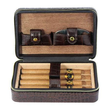 4 Cigar Cedar Wood Lined Portable Travel Case - Brown Crocodile PU
