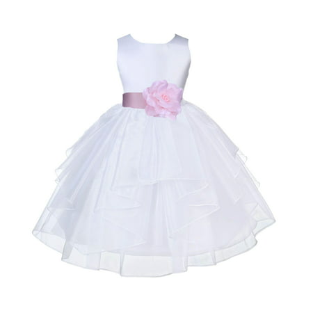 Ekidsbridal Shimmering Organza White Flower Girl Dress Weddings Handmade Summer Easter Dress Special Occasions Pageant Toddler Girl's Clothing Holiday Bridal Baptism 4613S size Pink 12-18 (Girl Pageant White Dresses)