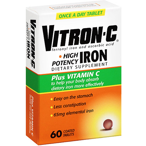 Vitron-C High Potency Iron Plus Vitamin C Coated Tablets Dietary Supplement 60ct