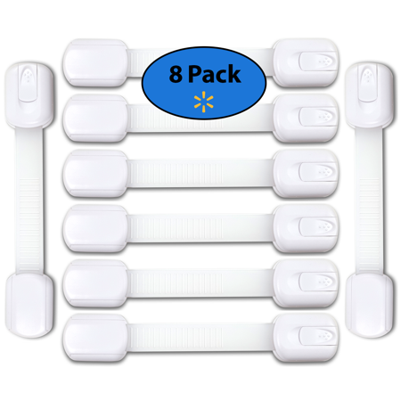 EliteBaby Adjustable Child Safety Locks, 8 Pack - Latches to Childproof and Baby Proof Cabinets, Appliances, Drawers with Extra Strong 3M Adhesive