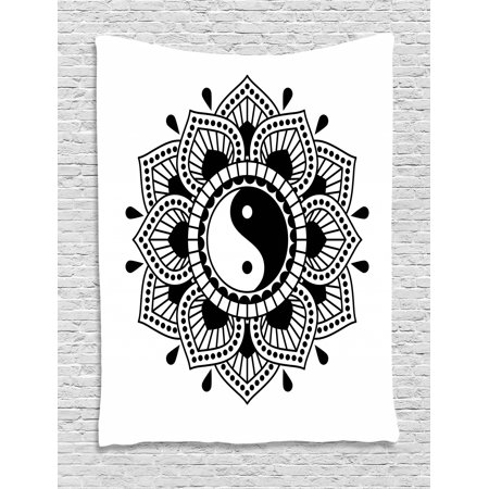 Black And White Tapestry Chinese Lotus Flower Inspired Graphic